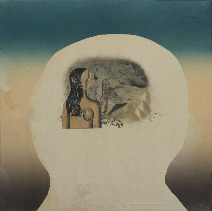 STAS ORLOVSKI  -  Head with Woman and Mountain, 2011  oil, charcoal, ink, graphite, xerox transfer, monoprint and collage on paper laid on canvas  24 x 24 inches