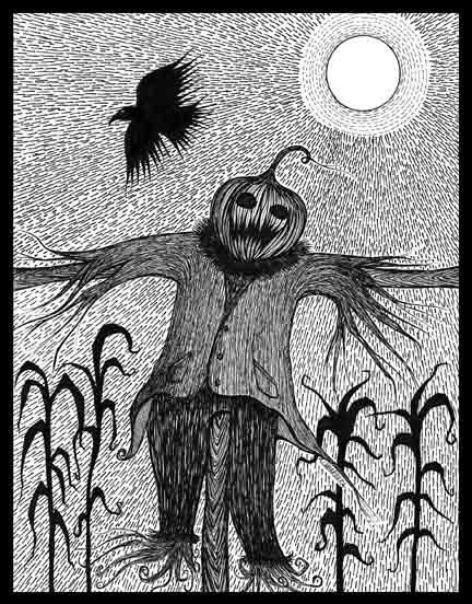pen ink black white drawing scarecrow crow by artworkbylabarbera