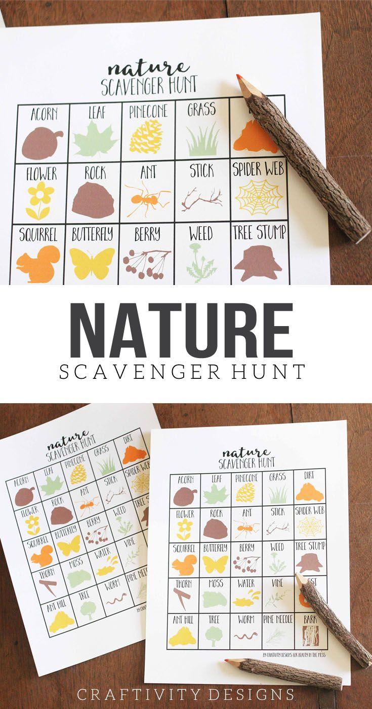 Nature Scavenger Hunt for Kids, Printable Scavenger Hunt Template, Summer Activities for Kids
