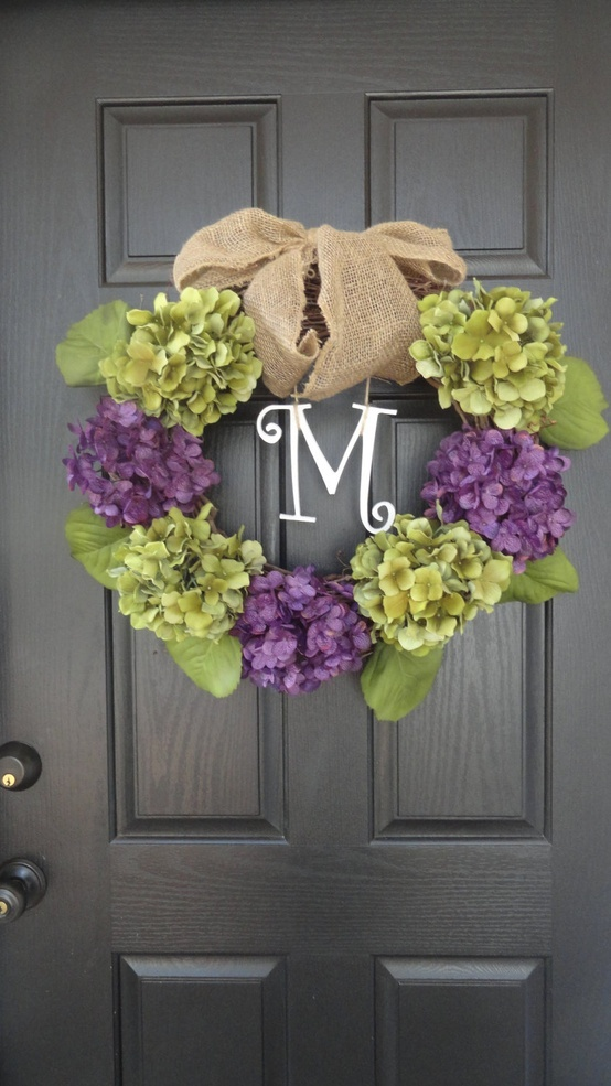 "24"" Year Round Green and Blue or Purple Hydrangea Wreath, Summer, Wreath, Fall Wreath, Spring Wreath, With Initial Monogram. $39.00, via Etsy."