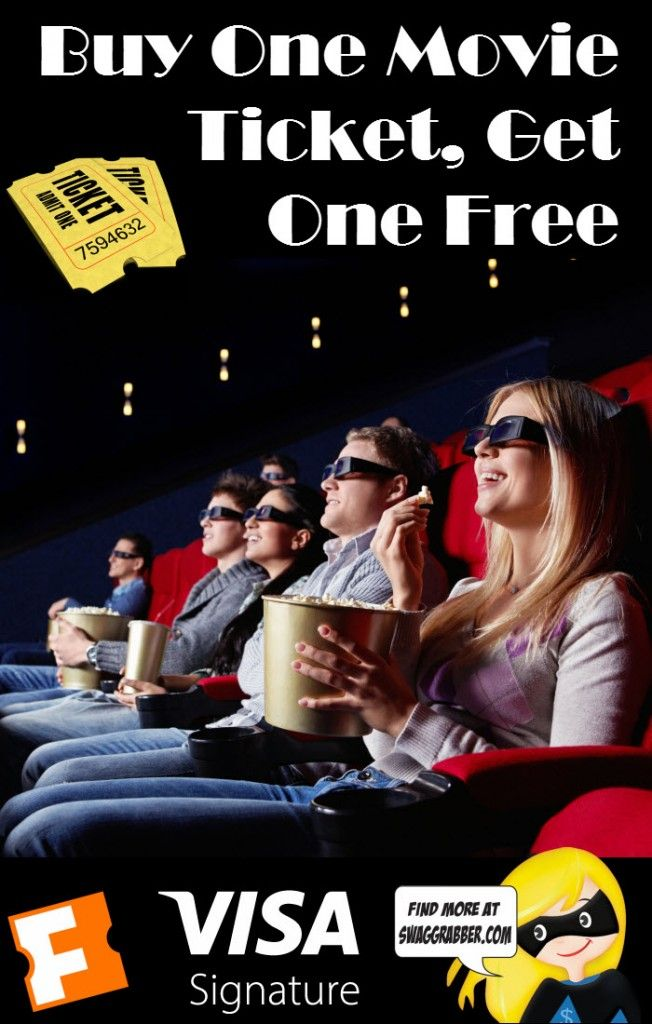 Buy one movie ticket get one free - Fandango is offering 2 For 1 Movie Tickets for All Visa Signature Card Holders. There are lots of great movies out there! Click through for more info!