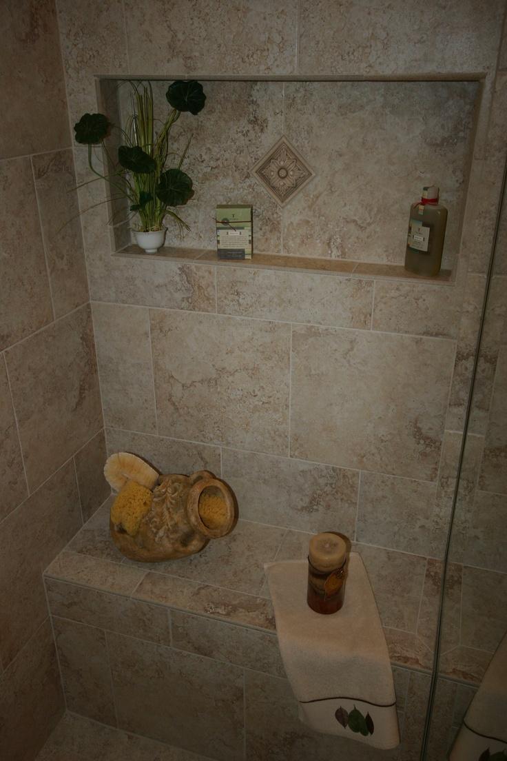 Built In Bathroom Vanity Ideas: Built-in Shower Seat And Niche