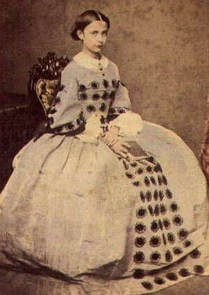 High bodice; demi long open sleeves, pleated skirt. Trimmed with macaroons on the sleeves, on the bodice in a triangle shape, and 5 wide from waist to hem on the skirt. Shown with a white collar and undersleeves.