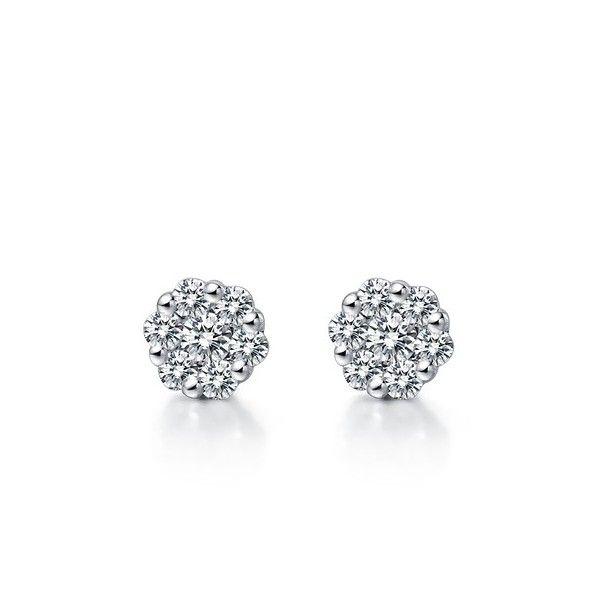 1 Carat Flower Shape Diamond Earrings on 18K White Gold