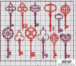 Here's a large set of antique keys to cross stitch as a complete project or as individual smalls. Give someone the key to your heart! Free from Brigitte Dadaux, this would make a great monochrome project or would look wonderful stitched up in a ombre palette as well. Get the free chart.