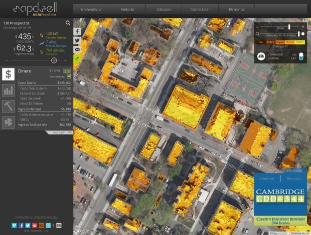Uno modelo tridimensional que evalúa la cantidad de radiación solar que reciben los techos de los edificios.