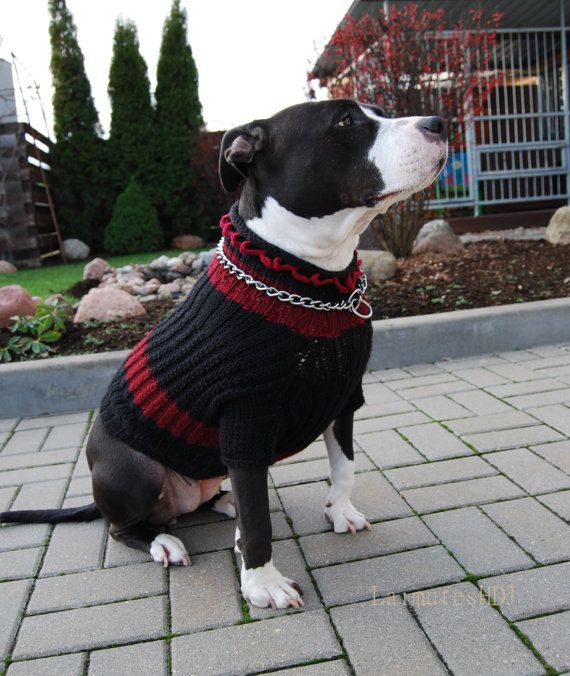 Large dog sweater XL size Black Sweater for Dogs by LaimutesHDJ