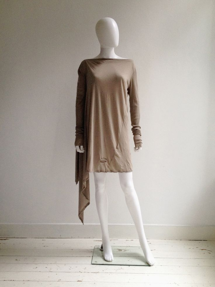 Rick Owens DRKSHDW beige asymmetric draped dress. Shop for curated vintage designer clothing and second hand runway garments from avant-garde brands at Vaniitas.