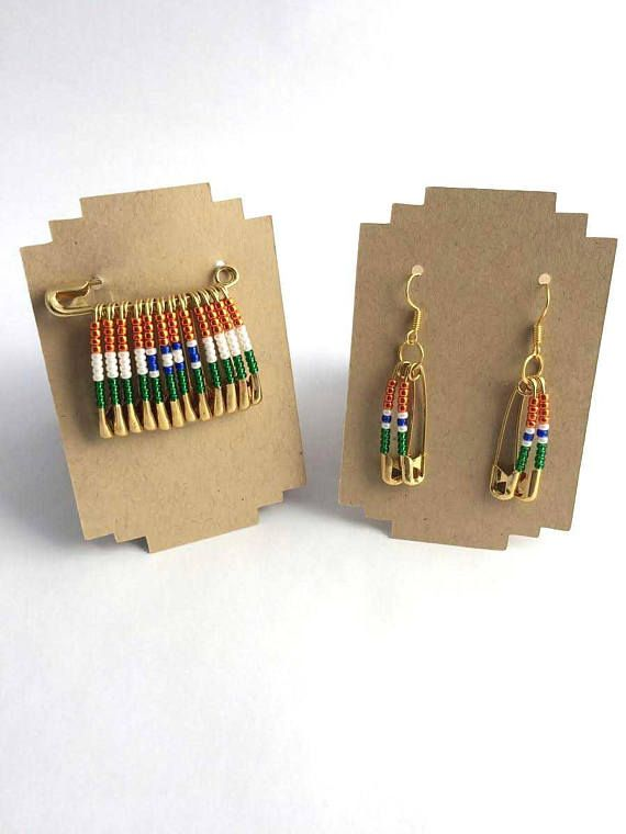 India Pin and Earring Set/Handmade/Safety Pin Jewelry/Independence Day/Beaded Earrings/Brooch/Gift for Her/Gift for Him/Flag Pins