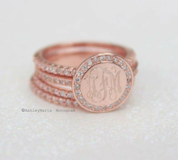 Rose Gold Monogram Ring | AshleyMaria