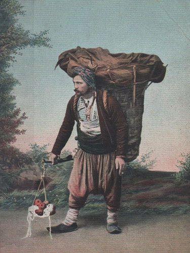 [Ottoman Empire] Apple Seller, Istanbul, 1900s (Osmanlı Elma Satıcısı, 1900'ler) | by OTTOMAN IMPERIAL ARCHIVES