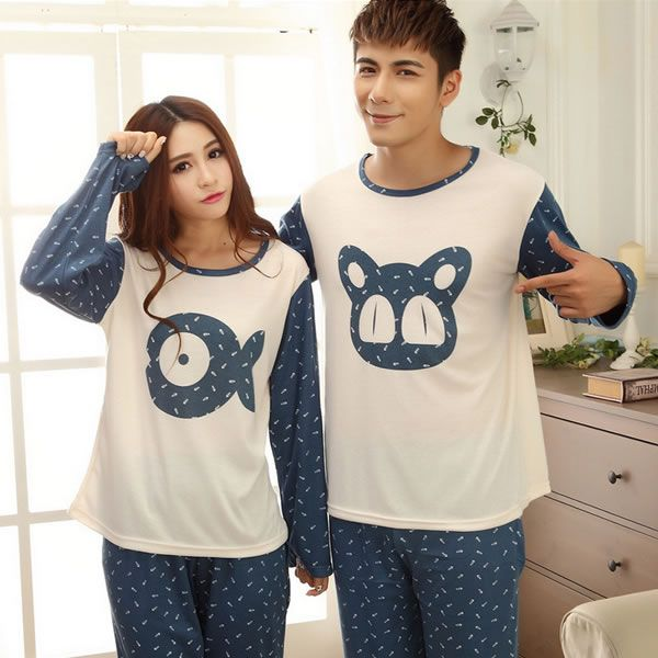 Knitted Cotton Couple Winter Pajama Set, different size for choice & different styles for choice