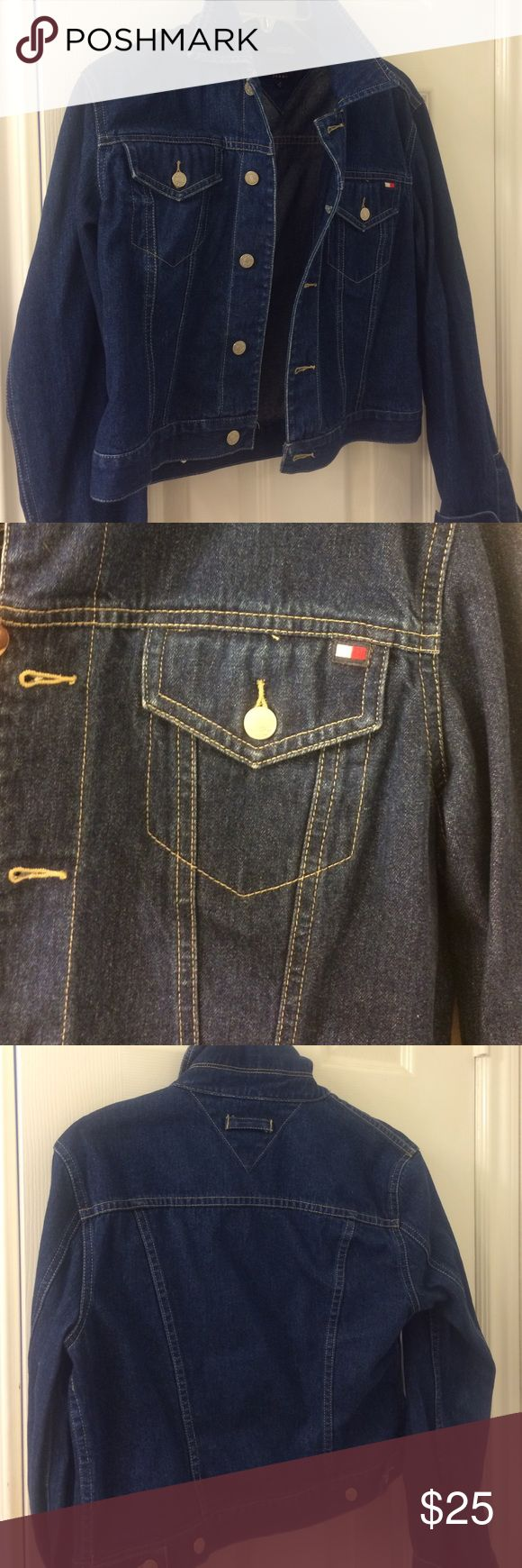 Tommy Hilfiger dark denim jacket Excellent condition dark denim super cute Tommy Hilfiger jacket. This states a large but I believe it fits like a medium, so I am listing as a size medium. Non smoking home! Tommy Hilfiger Jackets & Coats Jean Jackets