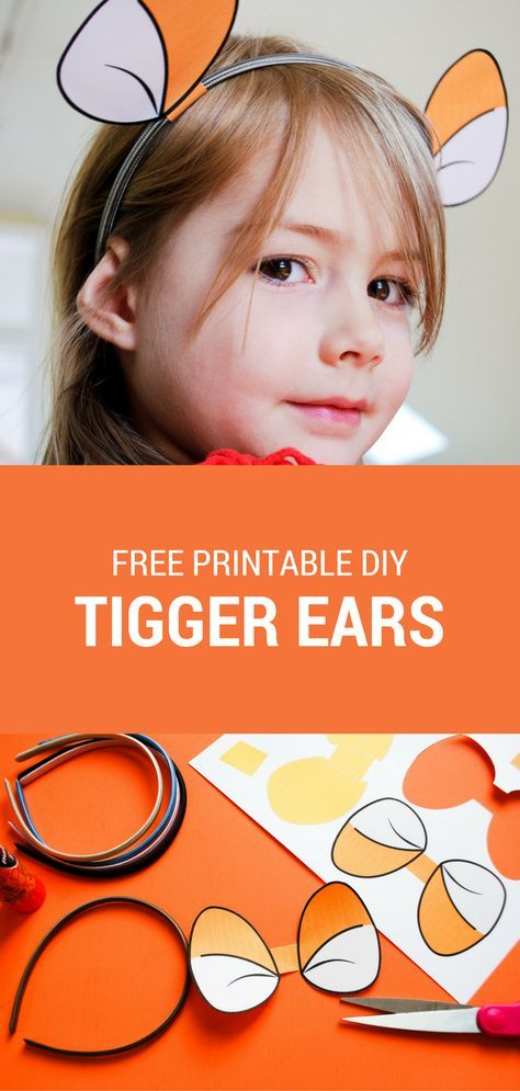 Make a DIY Tigger headband using these free printable Tigger ears for your own Hundred Acre Woods celebration. #spon Free printable Tigger ears | Free printable Winnie the Pooh ears | Free printable Piglet ears | easy Halloween costumes | Winnie The Pooh DIY costume | Piglet DIY costume | Tigger DIY costume