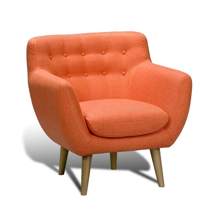 Angled Retro Armchair. Form and comfort meet mid-century modern design and luxurious styling. A button-tufted back and removable seat cushion are supported by solid pine wood legs, making this armchair a cozy perch for any space. | dotandbo.com