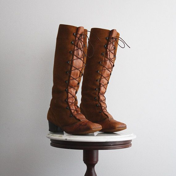 Boots Lace Up 9.5 Women's Tall Brown Suede Leather Knee High Heeled from fiiimac on etsy.com