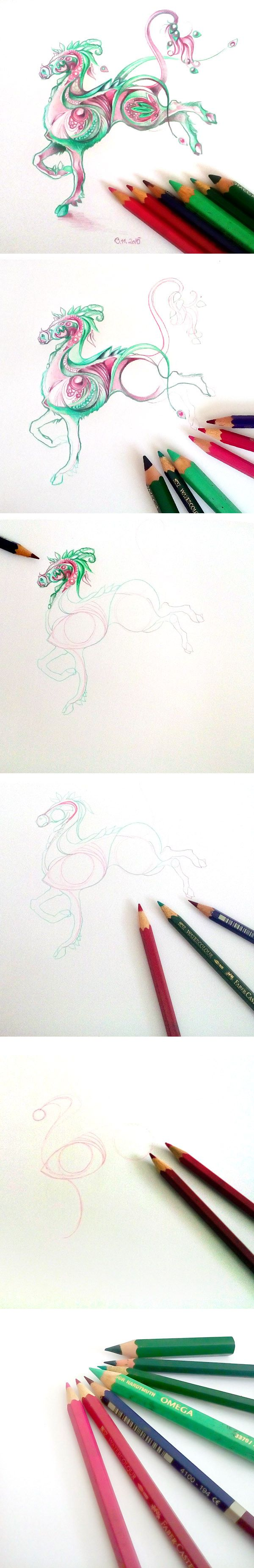 Fantasy horse step by step by #minkulul done with colored pencils.  My DA account: http://minkulul.deviantart.com/ #fantasy #mystical #creature #drawing #tutorial