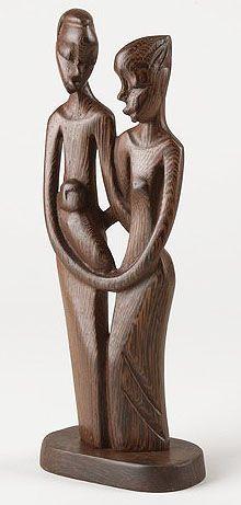 Mwenge Wood Holy Family nativity piece, Congo Africa