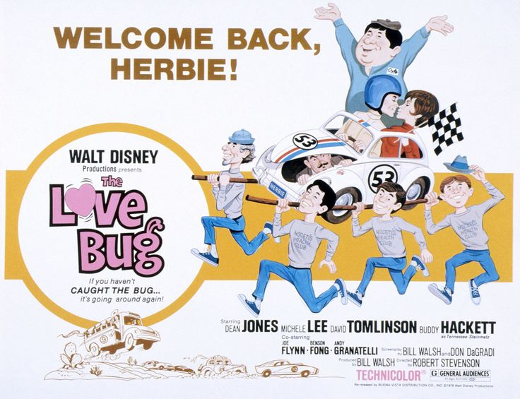 Screen printing: Classic movie posters from yesteryear. The Love Bug, 1968. Starring: David Tomlinson, Buddy Hackett, Dean Jones and Michelle Lee