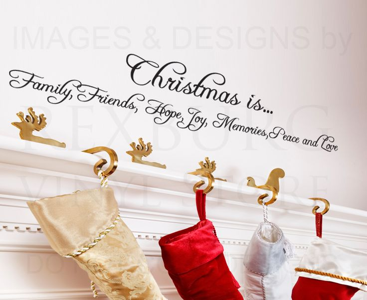 Christmas Family Wall Quotes | Wall Decal Sticker Quote Vinyl Art Christmas Holiday Family Friends ...