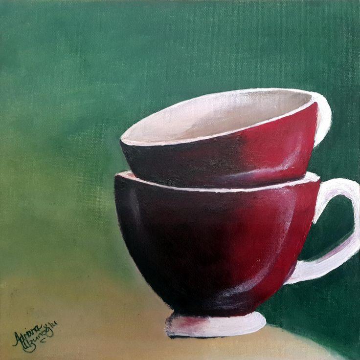 Teacup Series: Refreshing Red Oil on Canvas Panel 254 X 254mm  Artist: Adriana Uzunoglu