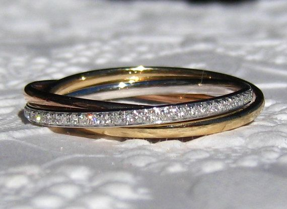 Tri-Color Rolling Ring Russian Wedding Ring Trinity Ring
