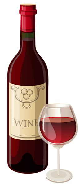 Wine Bottle and Glass PNG Vector Clipart