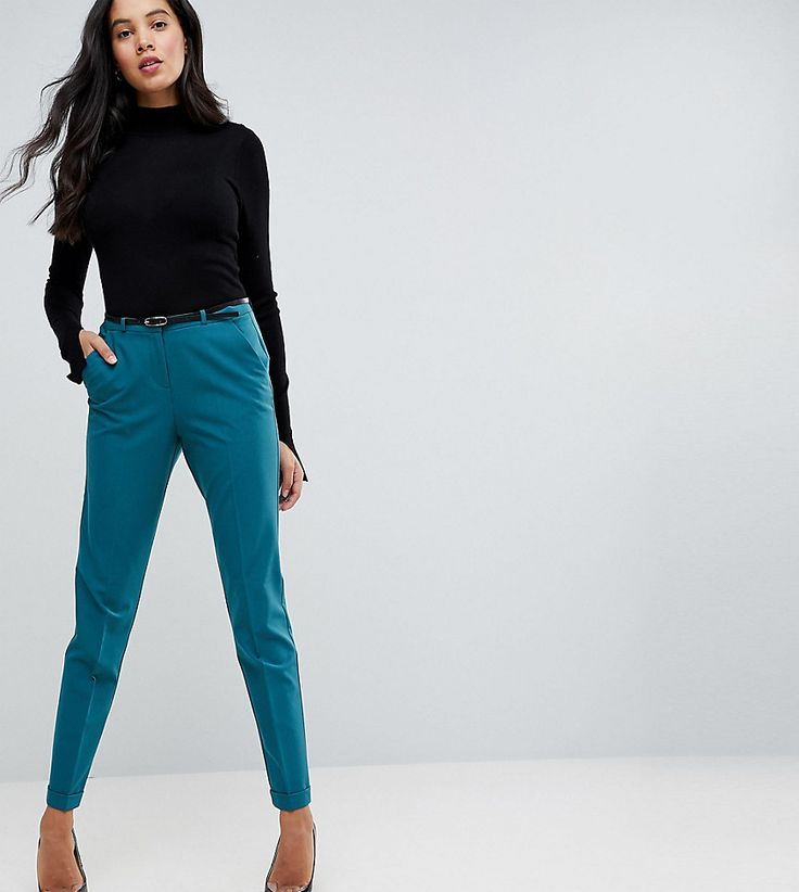 ASOS TALL Cigarette Pants With Belt - Green