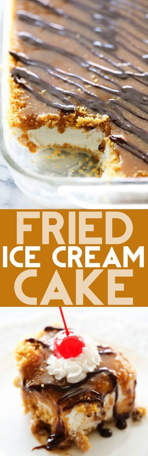 This Fried Ice Cream Cake is everything you love about fried ice cream, wrapped up into one delicious dessert! It eliminates the fry and tastes JUST like the original but with a fraction of the work. This recipe is a MUST TRY for any gathering. It will be the hit of the PARTY!