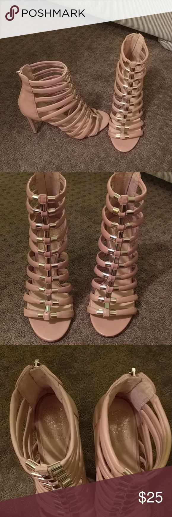 "Vince Camuto caged Sandals Heeled sandals with caged design and silver accents down the middle. These go just above the ankle. Worn once for a wedding. Dusty rose color. 3"" heel. Vince Camuto Shoes Sandals"