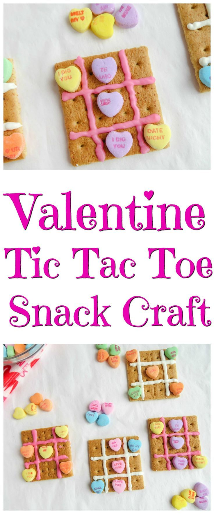 Valentine Tic Tac Toe Snack Craft | Perfect for a classroom party or kids group. Graham crackers, frosting, and conversation hearts