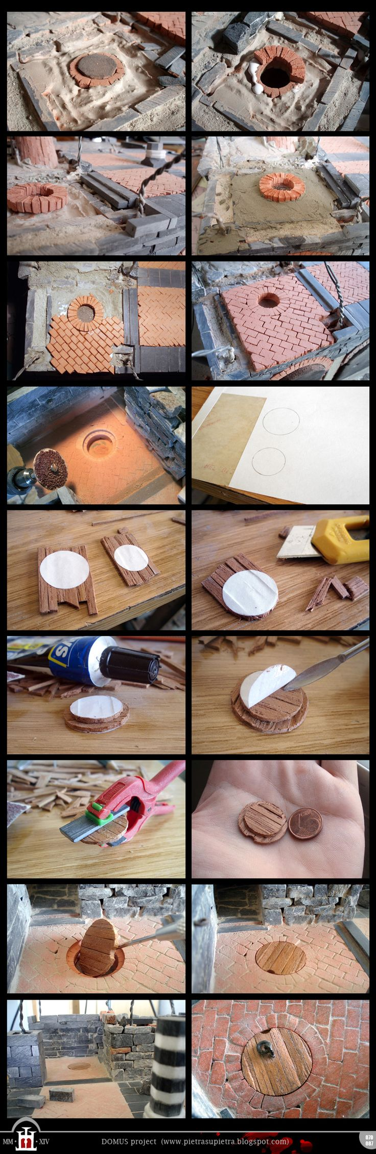 Domus project 70-87: Miniature brick floor and wooden round trapdoor