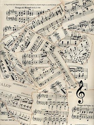 Vintage sheet music patchwork background.