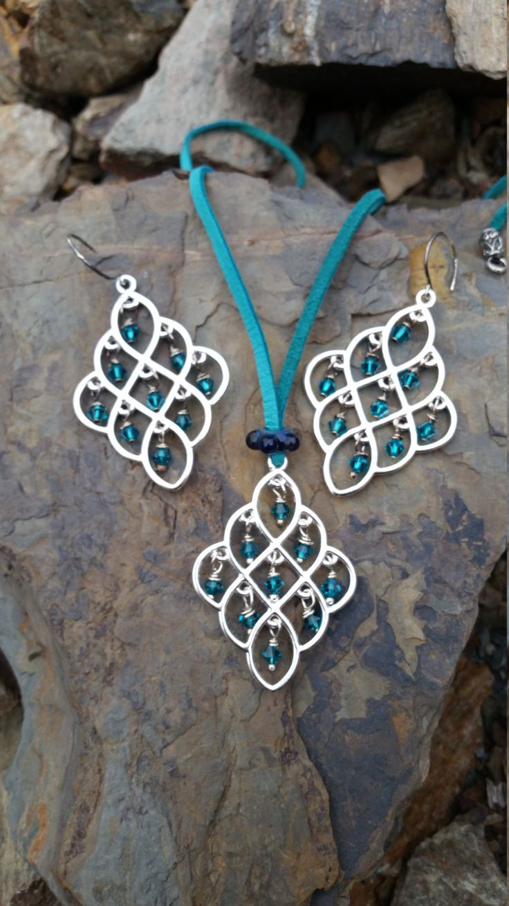 Teal Chandelier Jewelry Set / gift idea by JillTurrentineDesign on Etsy