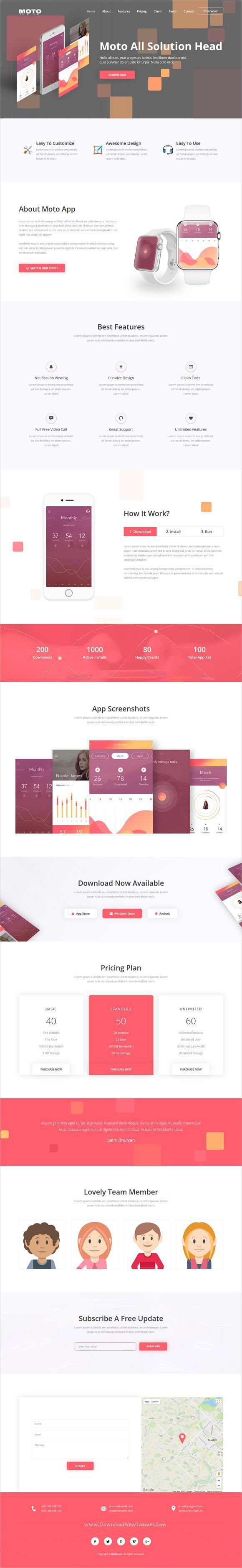 Moto is clean and modern design responsive #HTML template for app #landingpage website download now..