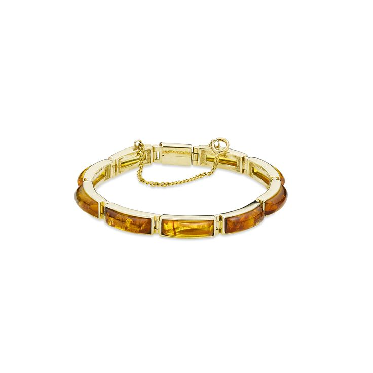 House of Amber - A glittering 14 carat gold bracelet with 9 links and cognac amber