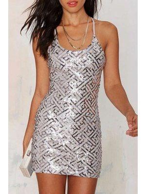 d9eb7bd6 Sequins Spaghetti Strap Bodycon Dress - Silver 2xl   Dresses ...