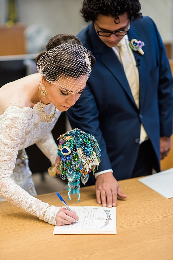 courthouse wedding civil ceremony portland oregon real bride inspiration jessica chintan gold jewel colors fun weddings powers studios photography (16)