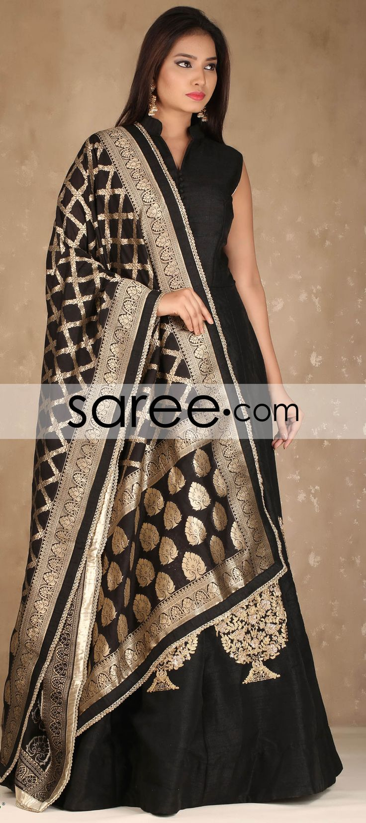 BLACK RAW SILK SUIT WITH EMBROIDERY WORK