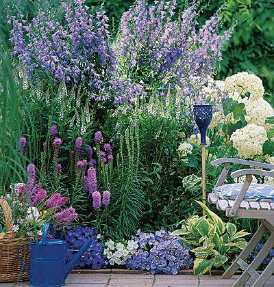 Paars, roze, witte bloemenborder met campanula, liatris, witte hydrangeas