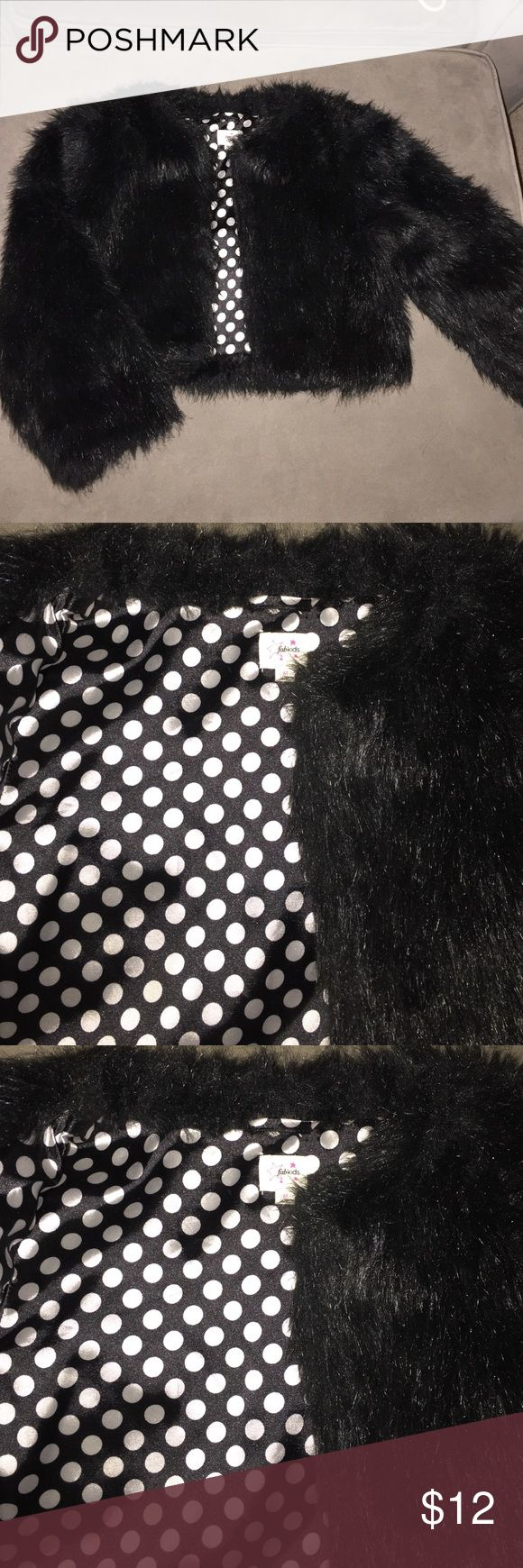 Girls Faux fur jacket Black faux fur jacket with satin lining Fab Kids Jackets & Coats