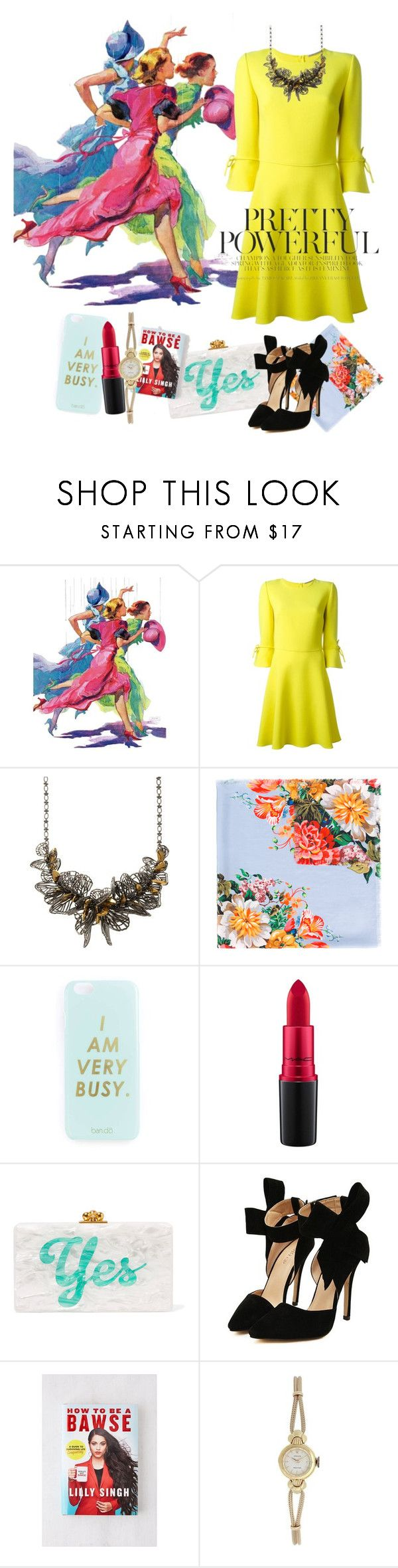 """Pretty Powerful"" by ducklemeg ❤ liked on Polyvore featuring Marmont Hill, Ermanno Scervino, Jenny Packham, Gucci, Miss Selfridge, MAC Cosmetics, Edie Parker, Urban Outfitters and Rolex"