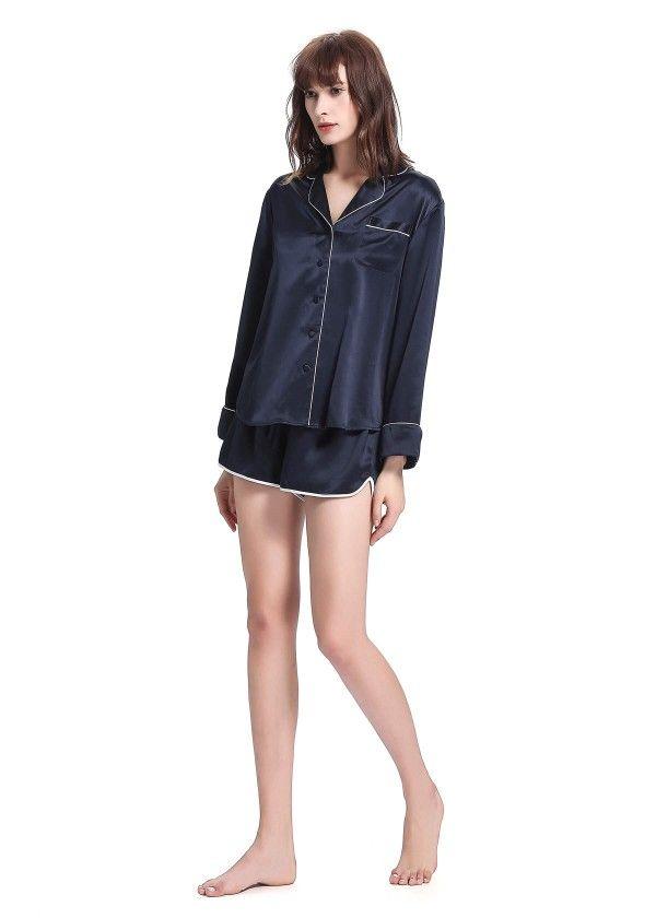 9bc7bb55f9 22 momme conjunto de pijamas seda elegantes con guarnición 3 piezas ...