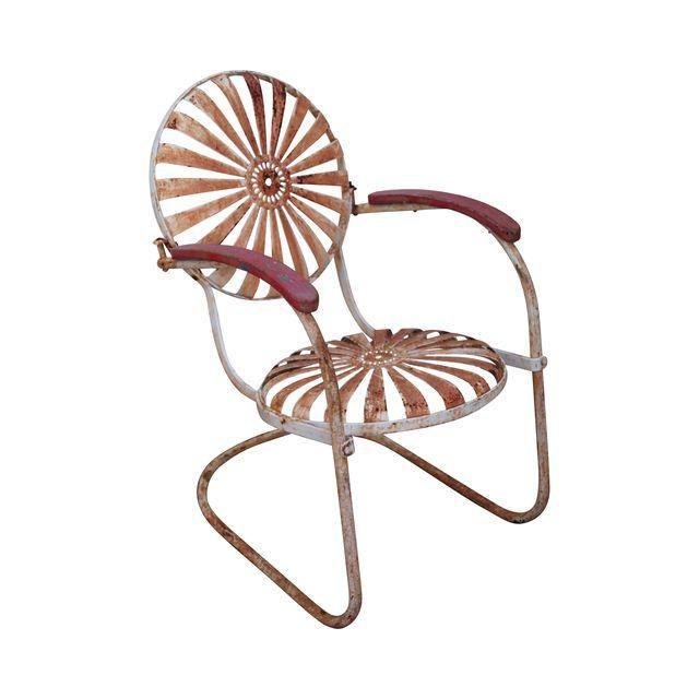 Image of Antique 1930s Sunburst Patio Arm Chair