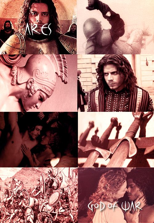 GREEK MYTHOLOGY MEME: 11/?  ∟Francois Arnaud as A R E S God of war, bloodshed, and violence. The son of Zeus and Hera, he was depicted as a beardless youth, either nude with a helmet and spear or sword, or as an armed warrior. Homer portrays him as moody and unreliable, and he generally represents the chaos of war in contrast to Athena, a goddess of military strategy and skill.