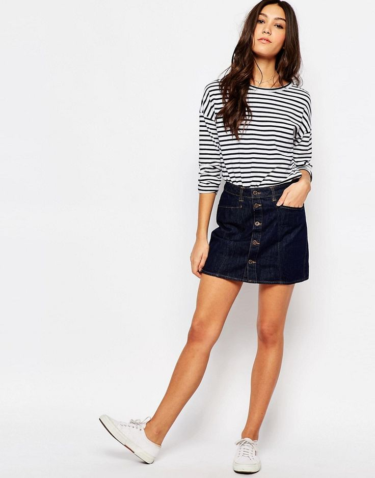 Image 1 of Jack Wills Button Front 70's Style Denim Skirt