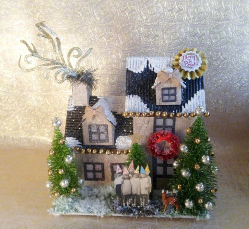 Putz-House-with-Adorable-Group-of-Children-w-Hats-Decorated-Bottle-Brush-Trees