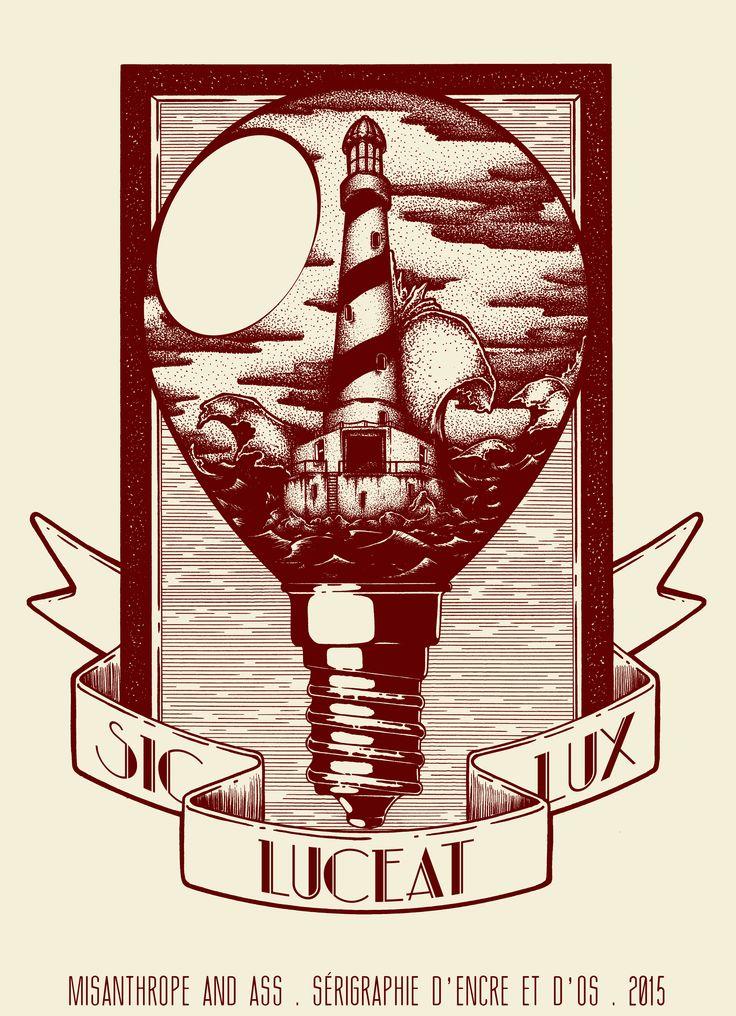 Dessin sérigraphié, signé et numéroté à 13 exemplaires, en rouge et blanc.  Imprimé sur un papier coquille d'oeuf de 240g en rouge opaque, au format 17*23,5 cm.  Dessin d'un ampoule contenant un phare côtier au milieu d'une mer déchainée.