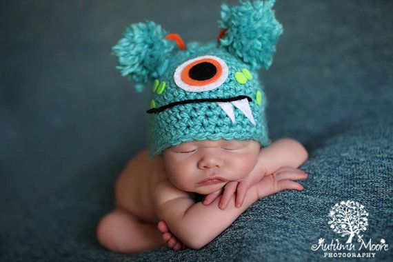 Baby Boy Girl Hat TURQUOISE MONSTER Newborn Baby Boy / Girl Crochet Hat More Colors Available 0-3 & 3- 6 9 months on Etsy, £16.63