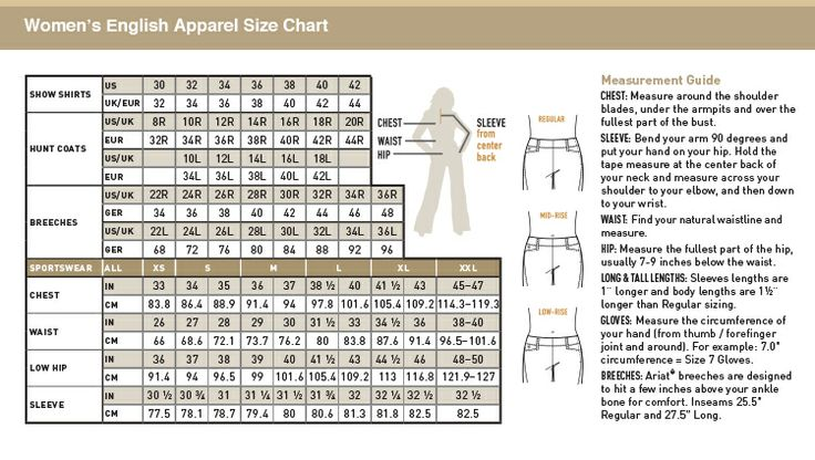 Ariat Breeches Size Chart Size Charts Equis